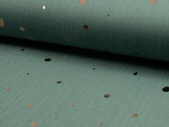 Double Gauze, cotton fabric, bambino foil eucalyptus groen